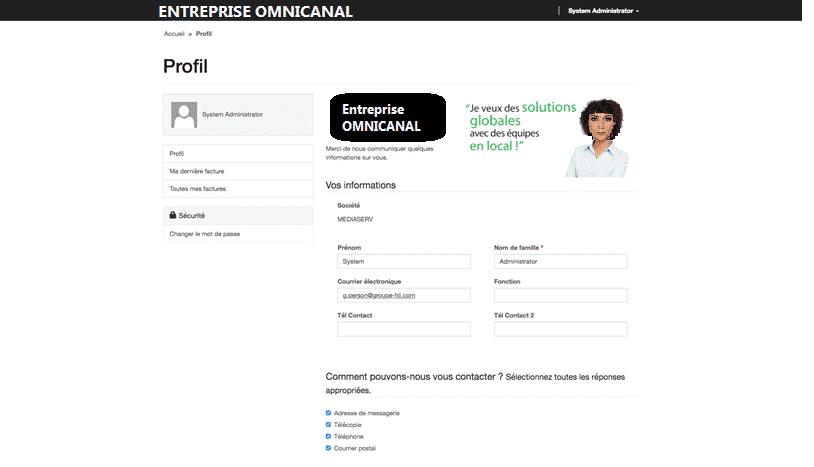 Exemple du portail client de L'ENTREPRISE OMNICANAL qui utilise Retail de Microsoft Dynamics 365 associée à un portail web